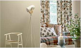 <b>LYS OG LUN:</b> Et rom med slette, lyse vegger (Flügger) mykes opp og får en lun og rolig atmosfære med tekstiler (Intag) når bunnfargen er som veggen. Skogsmotivet slår an en god naturtone.