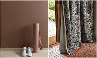 <b>NYANSELIKE:</b> Det er ingen lov som sier at vegg (Butinox) og gardin (Intag) må ha samme farge. Sats på farger som ligner hverandre i sorthet eller kulørstyrke, så har du noe som klinger godt sammen.