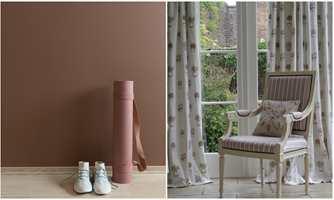 <b>STILSKIFTE:</b> Mønster og kvalitet på tekstilene (Borge) er med på å sette stilen og atmosfæren i rommet. Små blomster på lys bunn gir det røde rommet (Butinox) en lettere og mildere atmosfære.