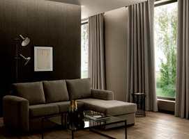 Tekstiler gir en myk overgang mellom to harde flater; vegg og vindu.