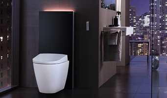Geberit Monolith plus er en elegant toalettmodul med luktavsug, der du kan montere hvilket toalett du ønsker. Her er det montert et AquaClean Sela.