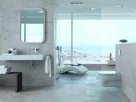 Trenden om gjennomsiktighet overlater lite til fantasien. Her er Geberit Sigma70, betjeningsplate som aktiverer toalettets skyll-funksjon.