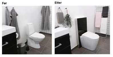 Bytt ut det gamle toalettet med et nytt. Til høyre: AquaClean Sela og Monolith sisternemodul fra Geberit. Løsningen tilbyr luktavsug (fjerner vond lukt på baderommet) og stemningslyst i syv valgfrie fargenyanser.