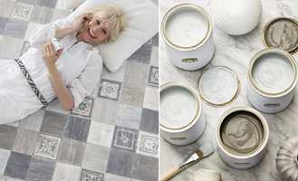 <b>GULV OG VEGG:</b> Med en kombinasjon av våtromsvinyl på gulvet og malte vegger kan man slappe av. Du er trygg på at gulvet er vanntett og har en hel palett å velge farger fra. (Foto: f.v. Gerflor, Beckers)