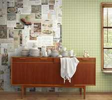 Lag en personlig kjøkkenvegg med fototapet av egne favorittoppskrifter, eller bruk Mr Perswalls motiv Granny med nostalgiske oppskrifter! Foto: Mr Perswall/Borge