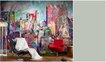 <b>NEW YORK:</b> Smell gjerne til med en kontrast slik som den røde stolen, men la veggen være blikkfanget. Her er tapet fra Mr Perswall/Borge.