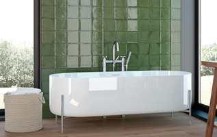 <b>OLIVEN:</b> Ta med fargene også inn på badet. Litt grønt i alle rom gjør deg godt! Fliser fra kolleksjonen