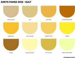 <b>AKTUELLE NYANSER:</b> Det er ikke bare én gulfarge som er «riktig». Dette er et tema med mange variasjoner. Her har Dagny Fargestudio satt sammen en palett med de mest aktuelle gulnyansene. (Dagny Fargestudio/Årets Farge 2018)