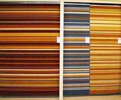Striper og klare farger i teppekolleksjonen fra Gulvex - produsert hos Ragolle i Belgia, Europas dominerende teppeland.