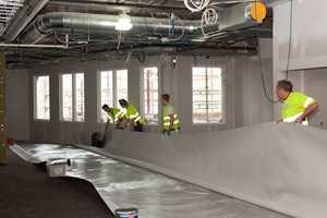 Det ble en vellykket test av Cascos nye gulvlim; ti tusen kvadratmeter tepper og en del vinyl ble lagt i de nye byggene på Rosenlund.
