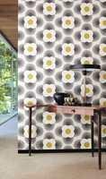 Orla Kiely Wallpaper med sin sedvanlige retro-look.