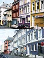 <b>FARGERIK FORTID:</b> Neumannsgate i Bergen før og nå.