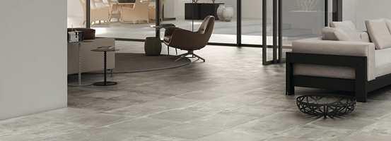 Barske gulv med industrilook er i vinden og her er en variant i keramisk flis.