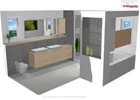 Her har Guri Bjørnsen tegnet et baderom for en kunde.