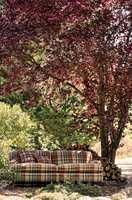 <b>HØSTENS FARGER:</b> Den levende årstiden presenterer en kompleks og lekker fargepalett. Tekstilet på sofaen er fra Sandersen sin kolleksjon Elysian, som føres av Intag.