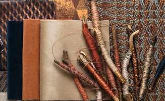 <b>MIKS:</b> En miks av lune materialer i varierende tekstur i varme og gylne høstfarger frister øyet. Stemningskart fra kolleksjonen Roots fra Borge.