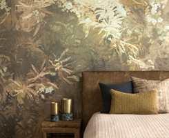 <b>GULTONER: </b>Variasjon i tekstur og gulgrønne farger skaper atmosfære av høst. Tapet og tekstiler er fra Green Apple.