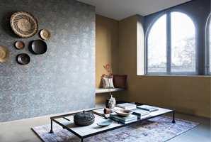 <b>LIV:</b> Varme farger fra høstpaletten kan kombineres med kjøligere farger for å skape liv. Tapet fra kolleksjonen Bazar fra Borge.