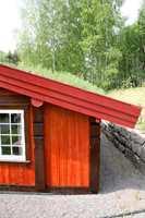 Denne hytta vil stå som et fyrtårn i landskapet. Det kan være et godt valg å dempe fargene noe.