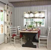 Etter: Lyse farger på vegger, tak, vindusflater, glassdør og gulv fornyet spiseplassen.
