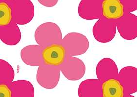 En frisk etterlikning av Marimekkos klassiske blomstermønster, med blomster på nærmere 40 cm.