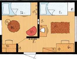 Det ble tegnet en skisse over rommet for å gjøre løsningen mest mulig funksjonell.