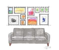 Rette ytterkanter: Mange bilder satt tett sammen danner en komposisjon på veggen. Bare fantasien setter grenser for hva som kan rammes inn og henges opp. Ved at bildegruppens ytterkanter er rette, skapes det en helhet selv om formatene er forskjellige.