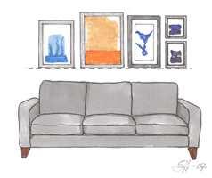 Rett underkant: Billedoppheng med rett underkant virker ryddig, alternatvit kan rett overkant brukes. Pass på at bildene henges for høyt på veggen, gjerne ikke høyere enn 1,8 m fra gulv til overkant av bildet.