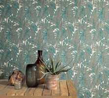 <b>GRØNT:</b> Grønne planter og jungelmotiv er en stor nisje i havet av blomstertapet. Dette er fra Fantasi Interiør, kolleksjon Hacienda.