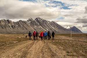 <b>ISBJØRNSIKRING: </b>Når som helst kan det dukke opp isbjørn på plassen utenfor Isfjord Radio. (Foto: Basecamp Explorer)