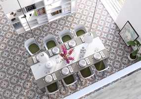 Gulv med historisk sus er en stor trend, og brukes gjerne i kombinasjon med moderne interiørdetaljer. Dette gulvet er med keramiske fliser fra Golvabias kolleksjon Empoli.