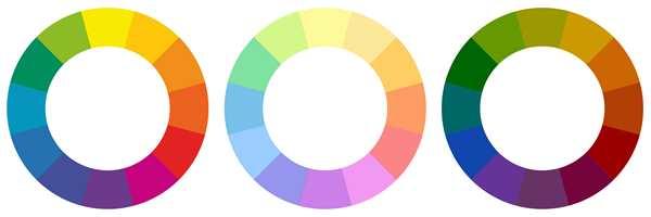 Ittens fargehjul i tre varianter: rene farger, pastellfarger og jordfarger