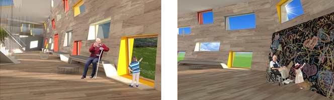 """<b>SAMMEN:</b> Le Corbusiers Fargeklaviatur har inspirert masterstudent Kinga Sbrzyzna ved Kunsthøgskolen i Bergen i prosjektet """"Better together"""", integrering av barnehage og sykehjem."""
