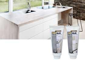 Kjøkkenbordgel gir en sterk og holdbar overflate som er motstandsdyktig mot vann og skitt.