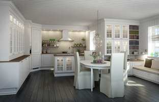 Hvite kjøkken er fortsatt førstevalget til de fleste. Dette er Edel Hvit fra Norema.