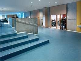 Trappen er et område med stor slitasje. Linoville er derfor et godt valg.