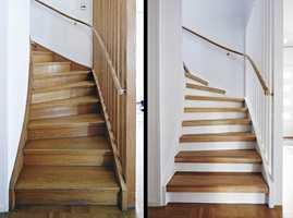 <b>FØR OG ETTER:</b> Gammel og ny trapp er som natt og dag.