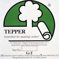 Tepper merket med dette symbolet er fri for skadelige stoffer.