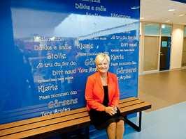 Daværende kunnskapsminister Kristin Halvorsen åpnet nye Lyngdal Ungdomsskole torsdag 29. august 2013.