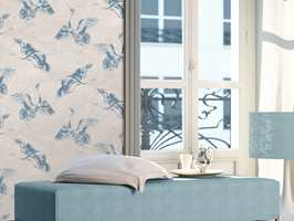<b>TAPET:</b> Med et mønstret tapet får du mye gratis når stilen skal skapes. Tapetet har en rekke farger som kan brukes ellers i rommet for å få en god harmoni. Tapet Linen Style fra Storeys.