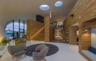 Da Snøhetta tegnet møtestedet for kreftsyke og pårørende for Forester Hill Hospital i Aberdeen, ble det brukt mye tre for å skape en beroligende atmosfære for dem som jobber der og de besøkende. Foto: Snøhetta