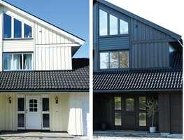 <b>STOR FORANDRING:</b> Forskjellen mellom før og etter taket og resten av fasaden ble malt er stor.