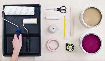 <b>UTSTYR:</b> Her er verktøyet du trenger til malejobben.