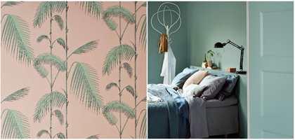 <b>FRISKT:</b> Skap en frisk, sommerlig stemning med bregner i rolige, duse farger. Tapet fra Borge, maling fra Beckers.