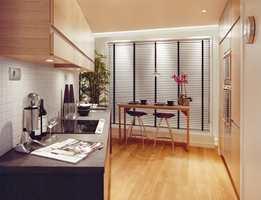 Kjøkkenutrustningen kommer fra Gaggenau og Bosch. Her blir det dels fliser på veggene, mens kjøkkenbenken er i granitt.