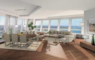 Fra beliggenheten på Västra hamnen vil beboerne få utsikt over både byen og havet. Design og høy standard preger leilighetene.