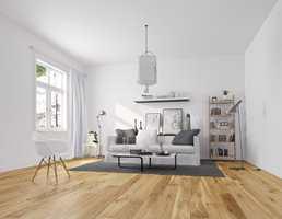 <b> FERDIGLAKKERT: </b> Et fabrikklakkert gulv skal ikke lakkeres igjen etter legging. Gulvet har en hard overflate ny lakk ikke vil hefte godt nok til. (Foto: Alfort)