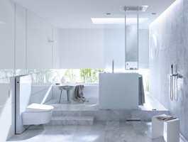 Rene, enkle flater kan gi et elegant og luksuriøst uttrykk, samtidig som det bidrar til bedre hygieniske forhold på badet. (Foto: Geberit)