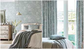 <b>LIKE:</b> Det blir tidløs hygge med blomster på vegger og gardiner.