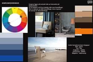Moodboard basert på Ittens prinsipp om komplenentære farger